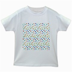 Dotted Pattern Background Brown Kids White T Shirts