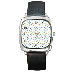 Dotted Pattern Background Brown Square Metal Watch