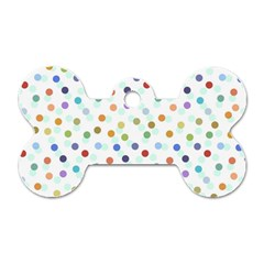 Dotted Pattern Background Brown Dog Tag Bone (one Side)