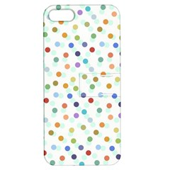 Dotted Pattern Background Brown Apple Iphone 5 Hardshell Case With Stand