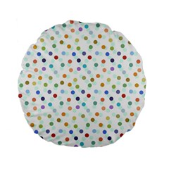 Dotted Pattern Background Brown Standard 15  Premium Flano Round Cushions