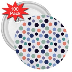 Dotted Pattern Background Blue 3  Buttons (100 Pack)
