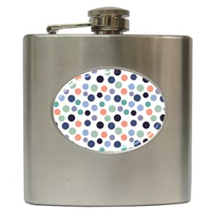 Dotted Pattern Background Blue Hip Flask (6 Oz)
