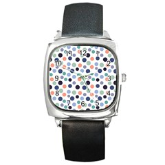 Dotted Pattern Background Blue Square Metal Watch