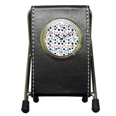 Dotted Pattern Background Blue Pen Holder Desk Clocks