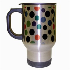 Dotted Pattern Background Blue Travel Mug (silver Gray) by Modern2018
