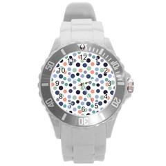 Dotted Pattern Background Blue Round Plastic Sport Watch (l)