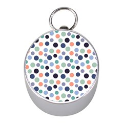Dotted Pattern Background Blue Mini Silver Compasses