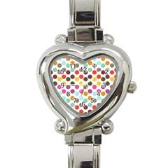 Dotted Pattern Background Heart Italian Charm Watch