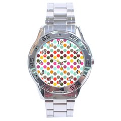 Dotted Pattern Background Stainless Steel Analogue Watch