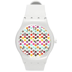 Dotted Pattern Background Round Plastic Sport Watch (m) by Modern2018