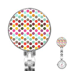 Dotted Pattern Background Stainless Steel Nurses Watch