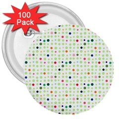 Dotted Pattern Background Full Colour 3  Buttons (100 Pack)