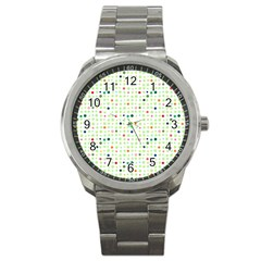 Dotted Pattern Background Full Colour Sport Metal Watch