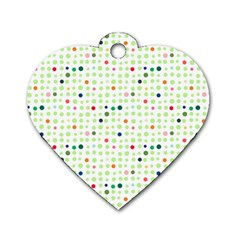 Dotted Pattern Background Full Colour Dog Tag Heart (one Side)
