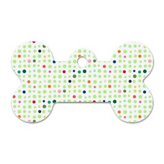 Dotted Pattern Background Full Colour Dog Tag Bone (one Side)