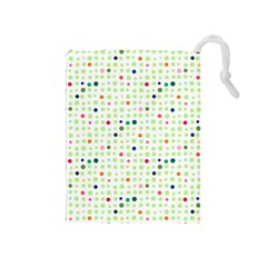 Dotted Pattern Background Full Colour Drawstring Pouches (medium)