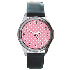 Pink Polka Dot Background Round Metal Watch by Modern2018