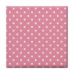 Pink Polka Dot Background Tile Coasters by Modern2018