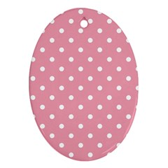 Pink Polka Dot Background Ornament (oval)