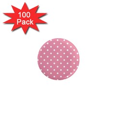 Pink Polka Dot Background 1  Mini Magnets (100 Pack)