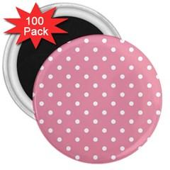 Pink Polka Dot Background 3  Magnets (100 Pack)