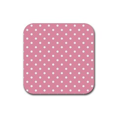 Pink Polka Dot Background Rubber Square Coaster (4 Pack)