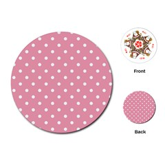 Pink Polka Dot Background Playing Cards (round)  by Modern2018