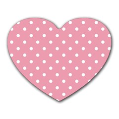 Pink Polka Dot Background Heart Mousepads