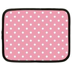 Pink Polka Dot Background Netbook Case (large)