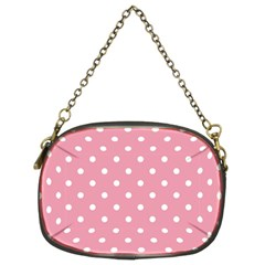 Pink Polka Dot Background Chain Purses (two Sides)