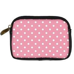 Pink Polka Dot Background Digital Camera Cases