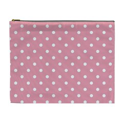 Pink Polka Dot Background Cosmetic Bag (xl)