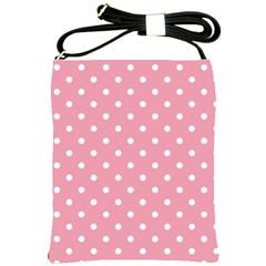 Pink Polka Dot Background Shoulder Sling Bags