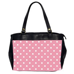 Pink Polka Dot Background Office Handbags (2 Sides)  by Modern2018