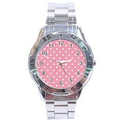 Pink Polka Dot Background Stainless Steel Analogue Watch