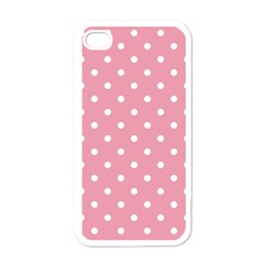 Pink Polka Dot Background Apple Iphone 4 Case (white)