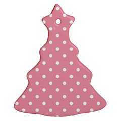 Pink Polka Dot Background Ornament (christmas Tree)
