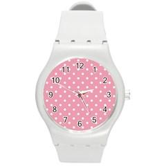 Pink Polka Dot Background Round Plastic Sport Watch (m)