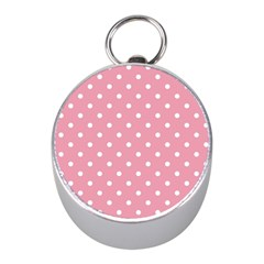 Pink Polka Dot Background Mini Silver Compasses
