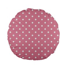 Pink Polka Dot Background Standard 15  Premium Flano Round Cushions by Modern2018