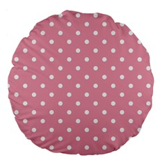 Pink Polka Dot Background Large 18  Premium Flano Round Cushions by Modern2018