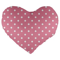 Pink Polka Dot Background Large 19  Premium Flano Heart Shape Cushions by Modern2018