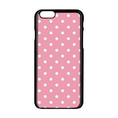 Pink Polka Dot Background Apple Iphone 6/6s Black Enamel Case by Modern2018