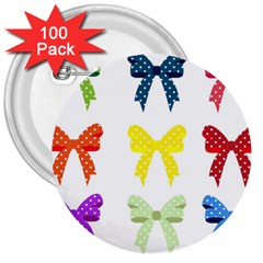 Ribbons And Bows Polka Dots 3  Buttons (100 Pack)
