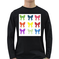 Ribbons And Bows Polka Dots Long Sleeve Dark T Shirts