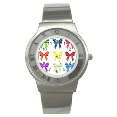 Ribbons And Bows Polka Dots Stainless Steel Watch