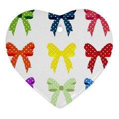 Ribbons And Bows Polka Dots Heart Ornament (two Sides)