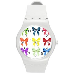 Ribbons And Bows Polka Dots Round Plastic Sport Watch (m)