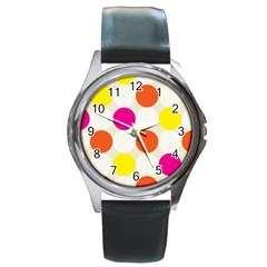 Polka Dots Background Colorful Round Metal Watch